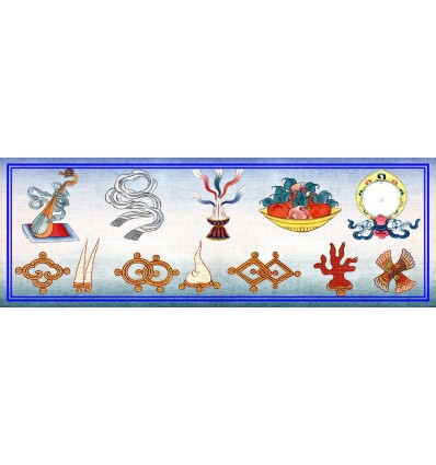 Les sept joyaux et les cinq qualités qui réjouissent les sens