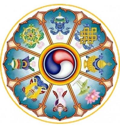 10 Symbole Auspicieux : Roue du dharma