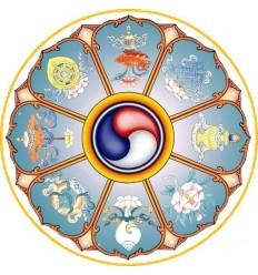 10 adhesifs Symbole Auspicieux : Roue du dharma